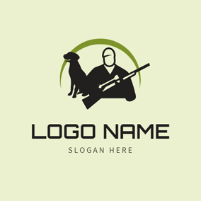 Black Dog and Hunter logo design