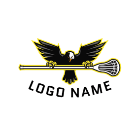 Black Eagle and Lacrosse logo design
