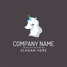 Black Eye And White Cartoon Unicorn Logo Design