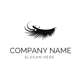 Black Eyelash Extension Icon logo design