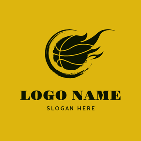 Black Fire and Basketball logo design