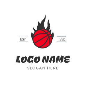 Black Fire and Red Basketball logo design