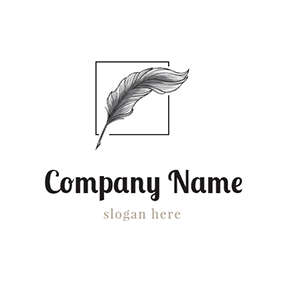 Black Frame and Feather logo design