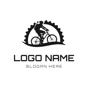Black Gear and Bike logo design