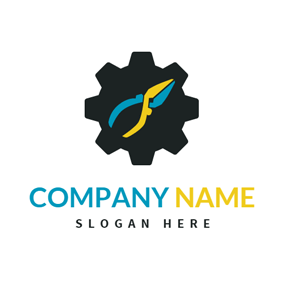 Black Gear and Yellow Plier logo design