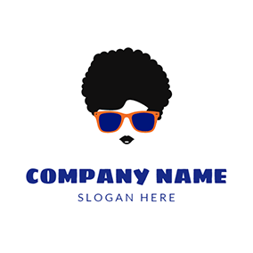 Black Glasses and Hipster Man logo design