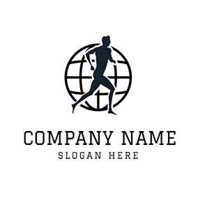 Black Globe and Marathon Runner logo design
