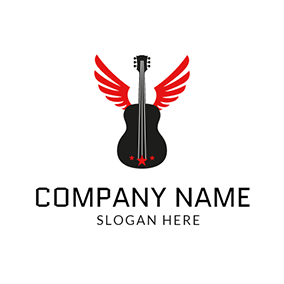 Black Guitar and Red Wing logo design