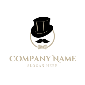 Black Hat and Mustache logo design