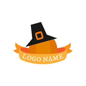 Black Hat and Pumpkin Icon logo design