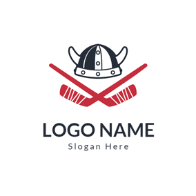 Black Hat and Red Hockey Stick logo design