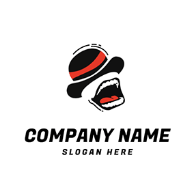 Black Hat Open Mouth Comedy logo design