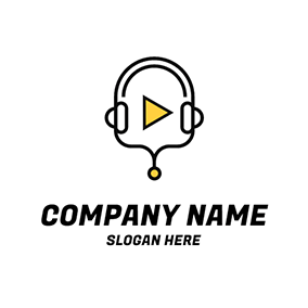 Black Headset and Yellow Play Button logo design