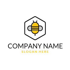 Black Hexagon and Bee Icon logo design