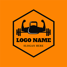 Black Hexagon and Gymnasium Coach logo design
