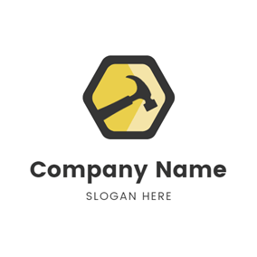 Black Hexagon and Hammer logo design