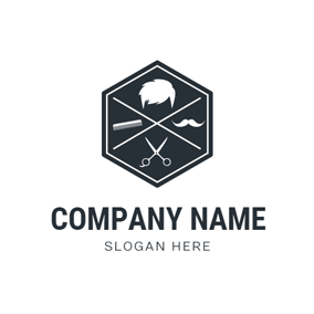 Black Hexagon and White Head logo design