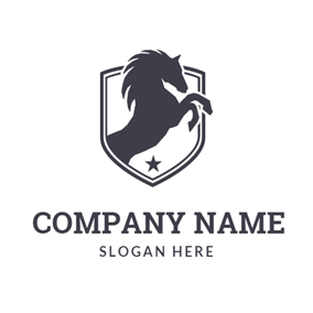 Black Hoof Lifted Horse Badge logo design