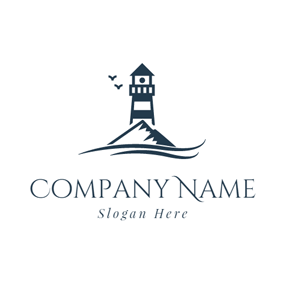 Black Lighthouse and Small Island logo design