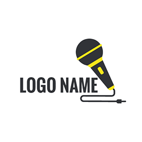 Black Line and Microphone Icon logo design