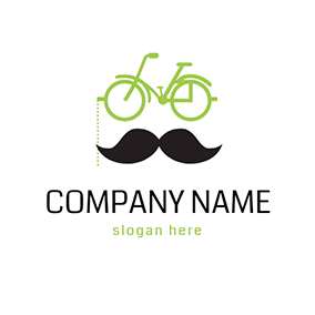 Black Mustache and Green Bike logo design