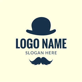 Black Mustache and Hat Icon logo design