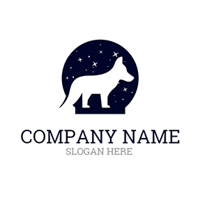 Black Night Sky and White Fox logo design