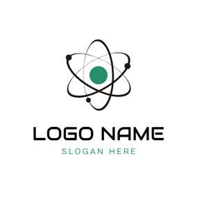 Black Orbit and Green Atom logo design