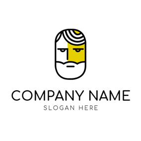 Black Outline and Human Face logo design