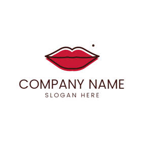 Black Outlined Red Lips and Nevus logo design