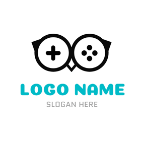 Black Owl and Glasses logo design