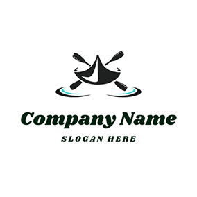 Black Paddle and Abstract Kayak logo design