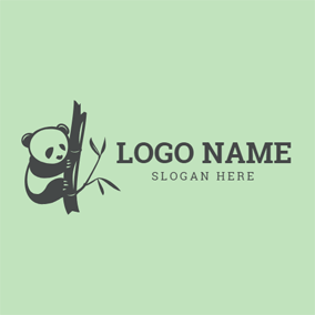 Black Panda and Bamboo logo design