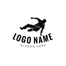 Black Parkour Sportsman logo design