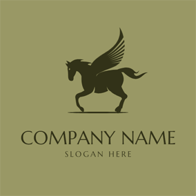 Black Pegasus Icon logo design