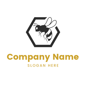 Black Pentagon and Vivid Bee logo design