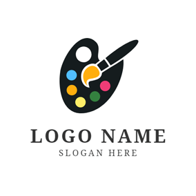 Black Plate and Paintbrush logo design