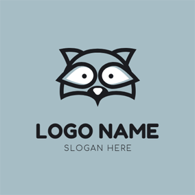 Black Raccoon Head Icon logo design