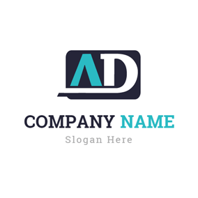 Black Rectangle and Creative Letter logo design