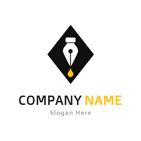 Black Rhombus and White Nib logo design