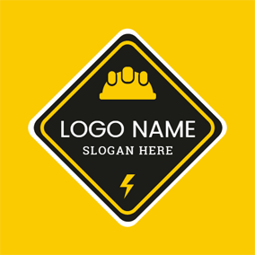 Black Rhombus and Yellow Helmet logo design