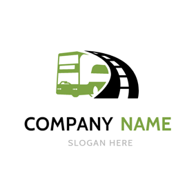 Black Road and Green Bus logo design