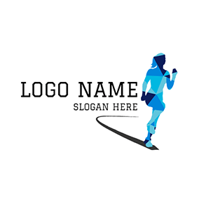 Black Road and Woman Marathon Runner logo design