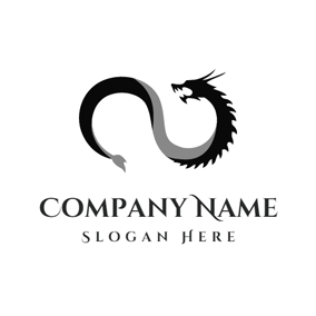 Black Roaring Dragon logo design