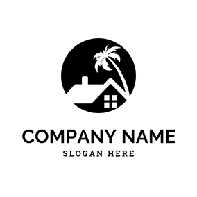 Black Round and White House With Tree logo design