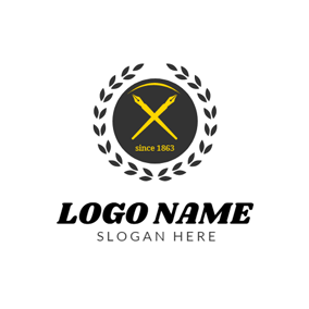 Black Round and Yellow Pen logo design