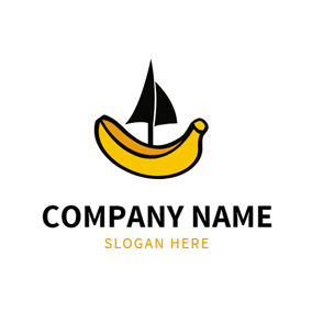 Black Sail and Yellow Banana logo design