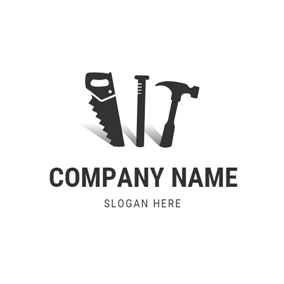 Black Saw and Nail logo design
