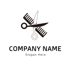 Black Scissor and Comb logo design