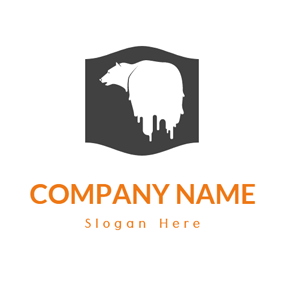 Black Shape and Polar Bear logo design